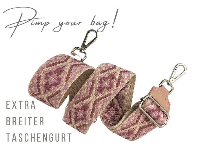 Extra wide strap for handbag | Ethnic pattern pink beige | Crossbody Bag | XXL | adjustable | Shoulder straps | Replacement belt | Woven