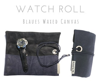Blue 3-man Watch Roll | Waxed Canvas | Gift for Men | Wristwatches Roll 3 Watches | Travel Watches Case | Watch roll cotton lined