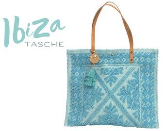 "Turquoise cotton bag ""Ibiza"" | BOHO Beach Bag | Bag | Shopping bag | Beach bag | Bast pendant | Tassels | Leather handle | Leather"