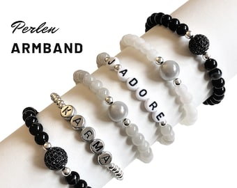 J'ADORE | KARMA | Beaded Bracelet | Pearls made of semi-precious stones | Letter Beads | Agate | Howlith | Zirconia | grey silver black statement