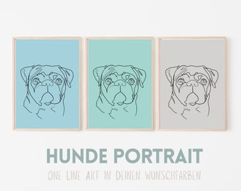 Dogs Portrait | One Line Art | Digital Print | Custom image | Animal portrait by photo | Background in color