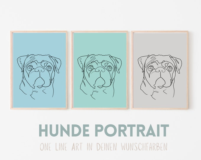 Dogs Portrait   One Line Art   Digital Print   Custom image   Animal portrait by photo   Background in color
