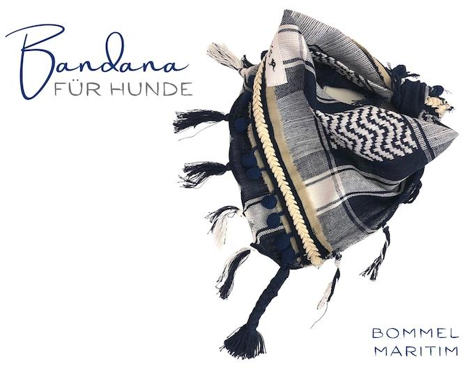 Maritime blue white beige dog scarf   Bandana   Triangular cloth for tying   Fringes and bobbles   Gr.M