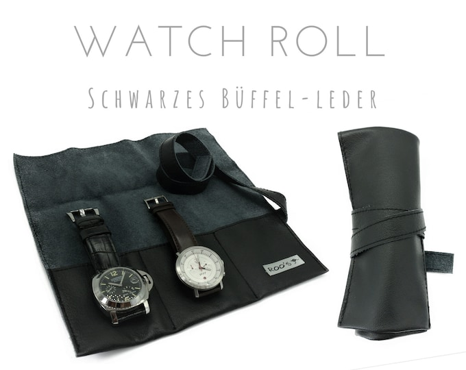Black 3 Series Watch Roll in Buffalo Leather | Gift Men | Watch bag | Travel Watches Case | Watch Roll | Leather roll