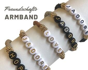 J'ADORE | LOVE | HOPE | Friendship Bracelet | Beaded Bracelet | Letter Beads | Ibiza | Boho | Hippie | brown gold black