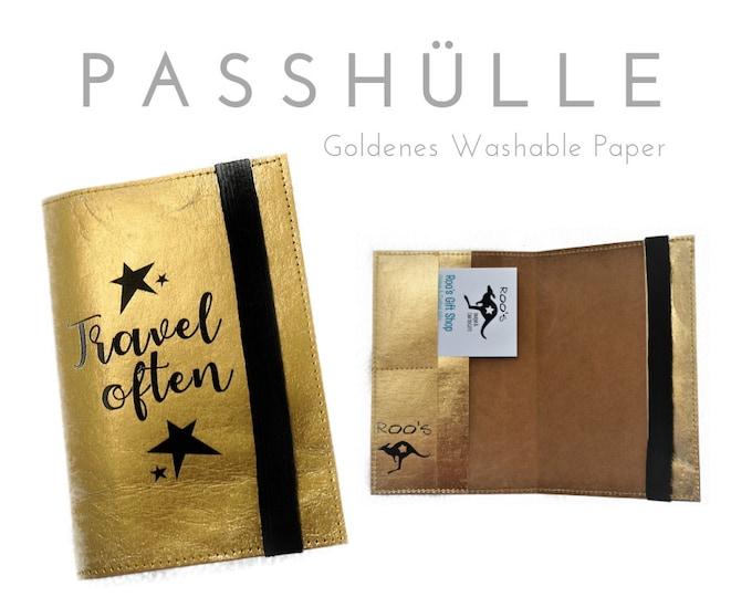 Passhülle Travel Etui | Travel Organizer | Gold | Washable Paper | Case | Portfolio for Pass, ID & Co | Inscription