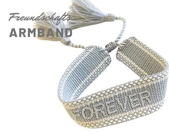 Grey Friendship Bracelet | FOREVER | Web Bracelet | knotted woven bracelet | Ibiza Tassels | Boho | Hippie | silver embroidered