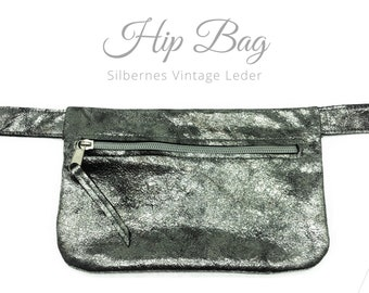 Silver hip bag | Vintage Leather | Belly bag | Silver Zipper | Crossbody Bag | Belt bag | Fanny Pack | Gift Valentin