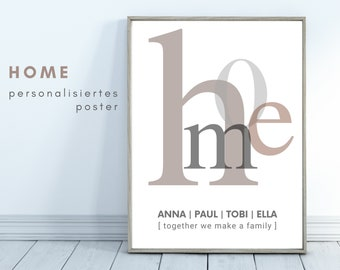 HOME | personalized poster | family | Gift Family | individual | Typo | Font | pure design | Gift for moving in | Image Print