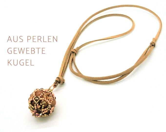 Beaded Woven Pendant | Bullet | Leather strap | Chain Ball Pendant | beige | Agate | Miyuki | Glass