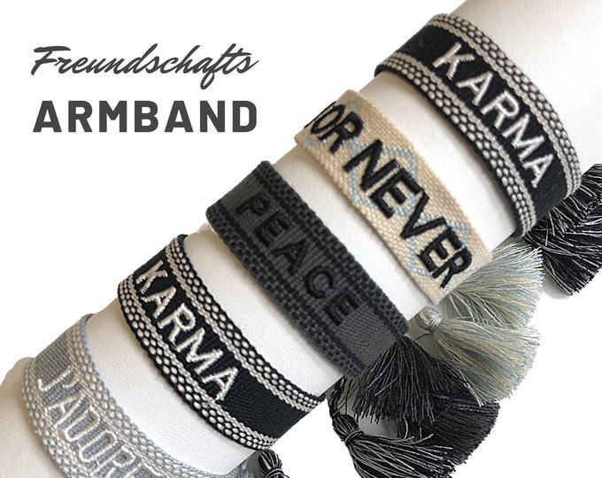 Friendship Bracelet | Web Bracelet | knotted woven embroidered bracelet | Ibiza Tassels | Boho | Hippie | grey black beige light blue