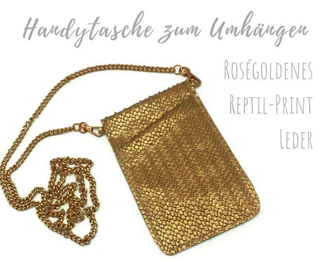 Rose gold phone case for hanging | Crossbody Phone Case | Leather with reptile surface | Mobile phone shoulder bag | Mobile phone chain