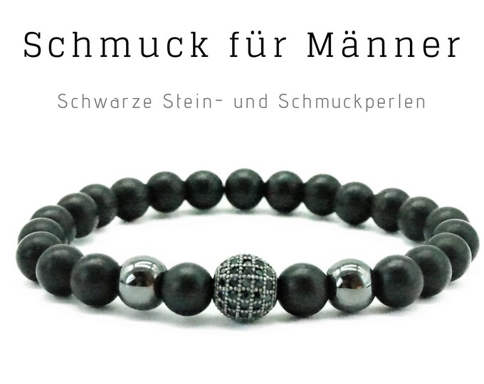 Black Beaded Bracelet | Onyx | Zirconia Jewelry Bead | Men's Jewellery | Men's Bracelet | Gift for Husband | Bracelet for man