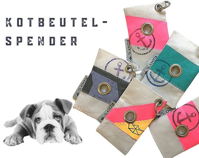 Dogs faeces bag dispenser from sail | Upcycling | colorful bags for the faeces bags | with carabiner | Bag Holder | Case | Holder | Bag holder