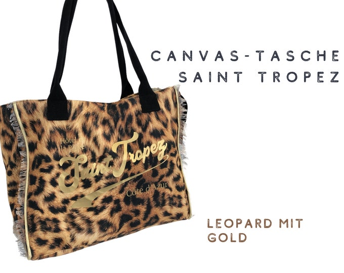 Trend Leo Look: Canvas Bag Saint Tropez | Beach Bag | Leopard Animal Print with gold | Fringe | Ibiza | Boho | French Style