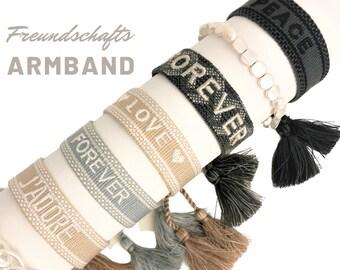 Friendship Bracelet | Webband | knotted woven embroidered bracelet | Ibiza Tassels | Web Bracelet | Boho | Hippie | Lettering Word