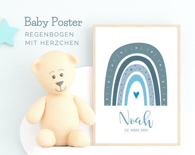 Light blue rainbow | Birth poster | Baptism gift | personalised | Name | Picture Baby Nursery | Gift Birth | Blue Grey BOHO