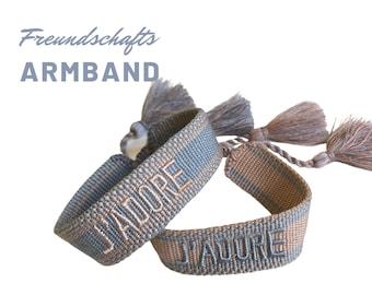 J'Adore | Web bracelet | Webband | grey pink | Statement | Tassels | Boho | Hippie | Valentine's Day Gift Card | Forever