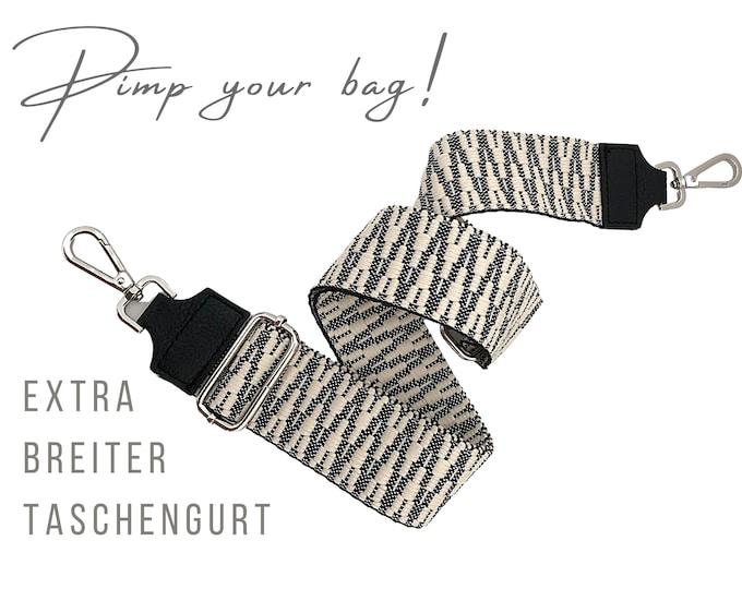 Extra wide strap for handbag | Black White | 5 cm wide | Crossbody Bag | XXL Belt | adjustable | pimp you bag | Replacement belt | Bag Strap
