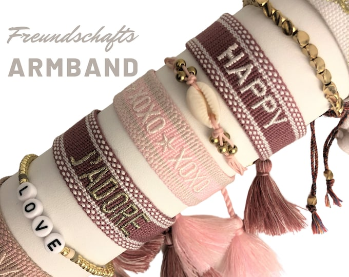Friendship Bracelet | Webband | pink white gold knotted woven embroidered bracelet | Ibiza Tassels | Web Bracelet | Boho | Hippie Love