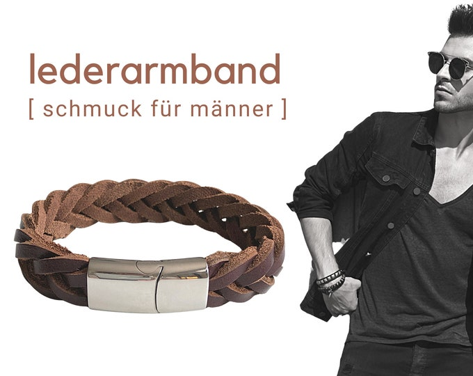 Brown braided leather bracelet for men | Stainless steel closure | Men's bracelet | Gift Father's Day