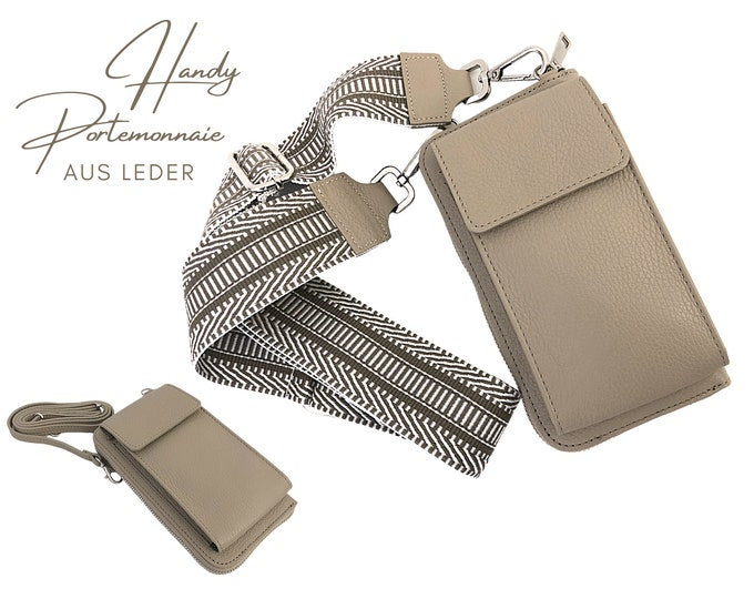 Sand-coloured mobile phone wallet | Purse | Purse | Leather capephone | narrow o. Ethno belt in XXL | wide pocket strap
