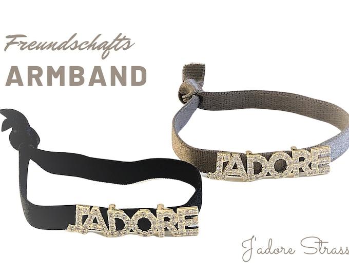 J'Adore | Elastic Friendship Bracelet | Rhinestone | Boho | Hippie | black gold or taupe gold | Glitter