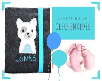 Custom U-Hefthülle   Felt   Dog   Wish name   Embroidered felt sleeve   Case for examination booklet   Embroidery   Application