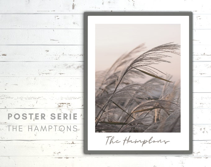 The Hamptons Poster | Wave | Beach | Sea | Beach Life | maritim | Pictures series | Wall Decoration | Coastal Style | nude blush rosé colors