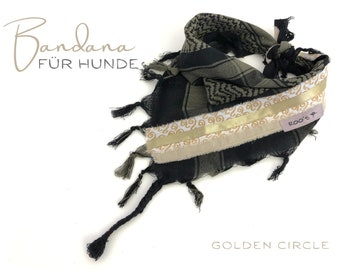 Khaki dogs scarf | Bandana with stripes in gold | Triangular cloth for binding | Fringes | Tassels | Gr.M/L