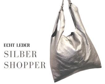 Silver Shopper | Shoulder bag | Leather bag | Genuine Leather | silver | large bag | soft leather | Inner pocket | Magnetic closure