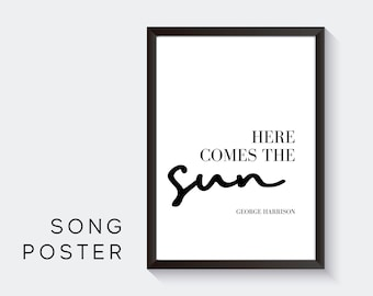 Lyrics Design Poster | Here comes the sun | George Harrison | Digital Print | Typo Image | Art print | Gift Music Fan | Beatles| Cult