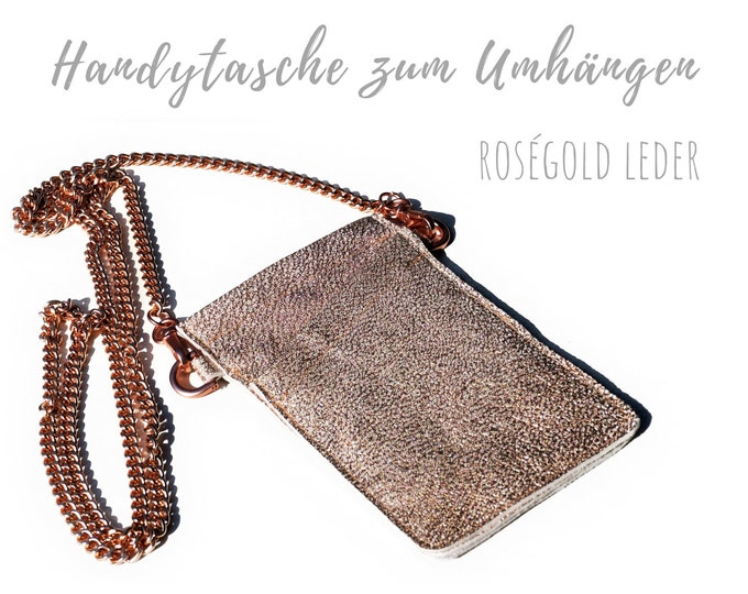 Crossbody phone case   Mobile phone handheld bag   Breast bag   Rose gold   Chain   Real leather sleeve   Cross Body Bag   Leather bag phone chain