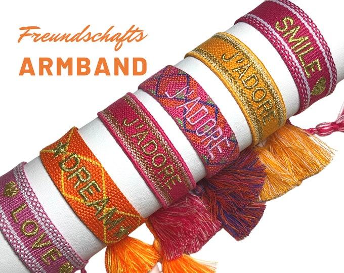 JADORE Friendship Bracelet   pink orange gold   Canvas Webband   knotted woven embroidered bracelet   Tassels   Web bracelet   Boho  