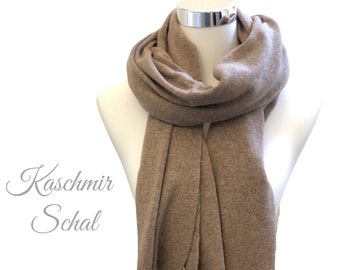 Wide knit scarf | Merino Wool with Cashmere | brown caramel | light knit | Scarf | 130 x 60 cm | Wool scarf | Cashmere | Merino