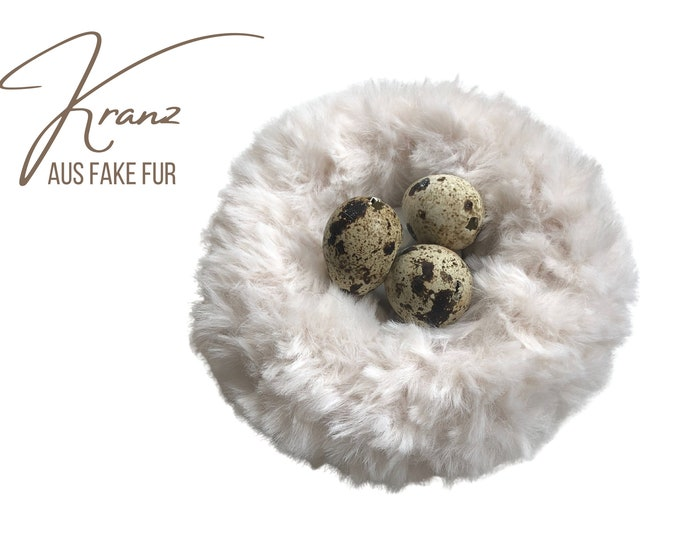 Small Mini Wreath | knitted | Faux fur wool | Easter decoration | Spring | Wreath | 12 cm diameter | Boho Style | Fur wreath | Easter Nest