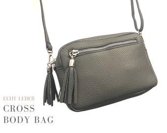 Small grey leather handbag | Shoulder bag | Crossbody Bag | narrow strap | Genuine Leather | Tassels | Leather bag practical size