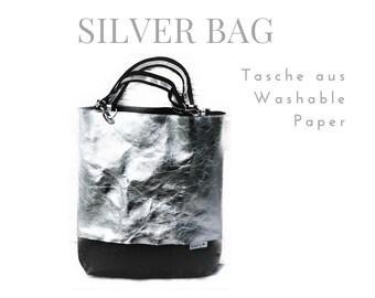 Silver Bag from Washable Paper   Shoulder bag   Large SnapPap Bag   silver with black
