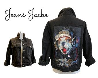 Black Jeans Jacket with Glitter Motif Dog | Glitter Dog Back | Rhinestone Application | Rhinestone motif