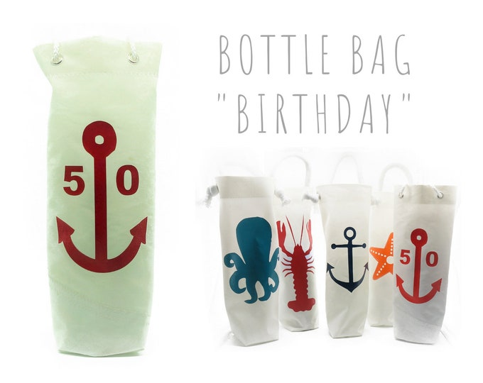 Bottle Bag | Bottles Bag of recycled Sail | Gift Wrapping for Birthday | Wine Bottle Gift | Wine bags | Gift bag