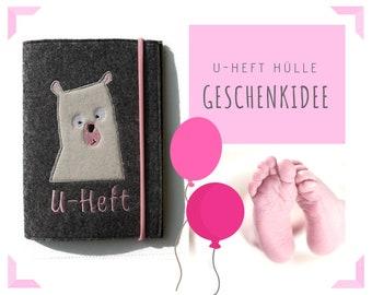 Felt U-stitch sleeve | Application Bear | Polar Bear | Embroidery | grey with pink | Examination booklet | Envelope | Felt case