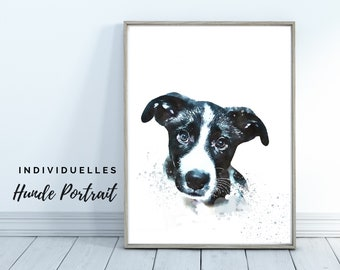 Dogs Portrait | Digital Print in Watercolor Style | User-defined image of your dog | Animal portrait after photo | Gift for dog fans