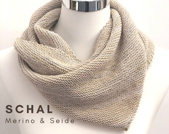 Noble Scarf | Merino wool with silk | beige with grey | asymmetrical knit with a slight gradient | Scarf | fairtrade | hand knitted |