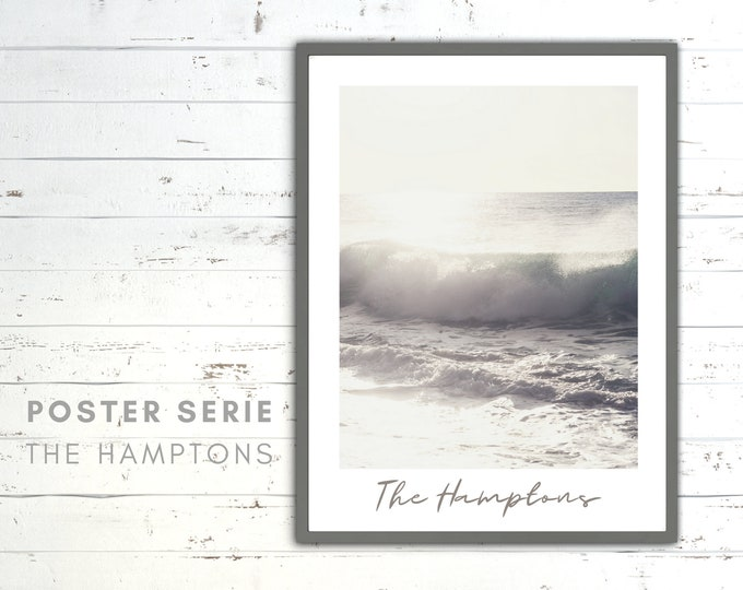 The Hamptons Poster | Wave | Beach | Sea | Beach Life | maritim | Pictures series | Wall Decoration | Coastal Style | bright image beige colors