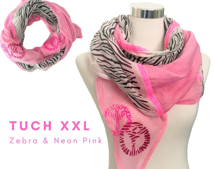 Cool BOho-style XXL cloth | bright pink with zebra print and neon pink velvet ribbons | Peace print in neon pink | Single piece | Handpainted