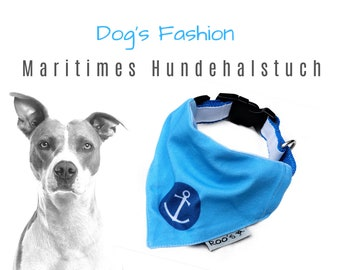 Maritime dog neckerchief with anchor   turquoise with dark blue   Cotton Dog Bandana   is attached to the collar
