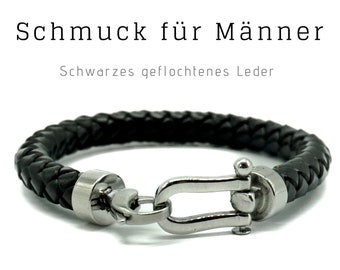 Bracelet for Men | Black braided Leather with silver Closure | Skull | Male Jewellery | Men'S Bracelet | Gift for Man