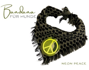 Khaki dogs scarf | Bandana with peace sign in neon yellow | Triangular cloth for binding | Fringes | Tassels | Size S