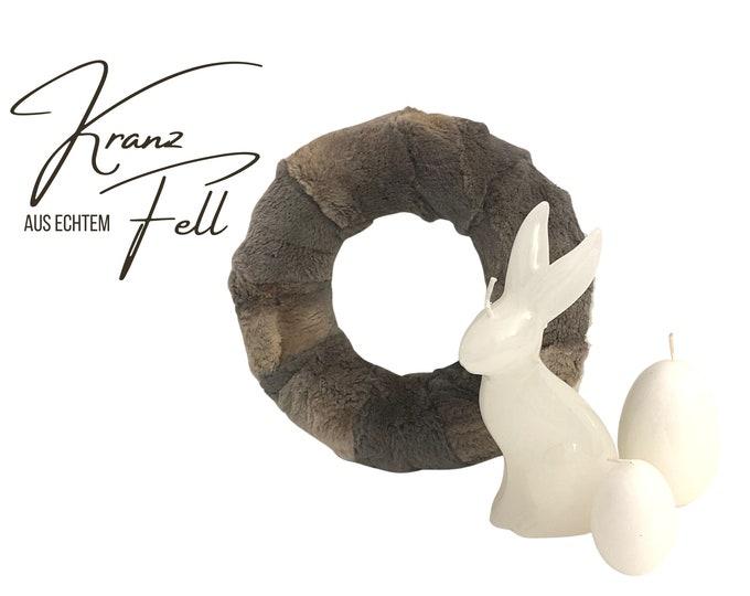 Noble wreath made of real fur | Wreath | Easter | Easter decoration | Fur | Windlight | Decoration | Fur wreath | Boho