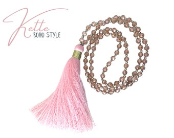 Pink glass beads chain   with XXL tassel   shimmering facet beads   very long thick hippie boho tassel